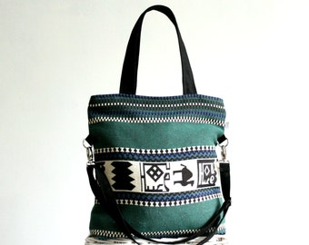 Zippered Tote Bag, Diaper Bag, Foldover Bag, Woven Fabric Bag, Camel, African print, Etnic, Hippie Bag, Bohemian Bag, Emerald Green