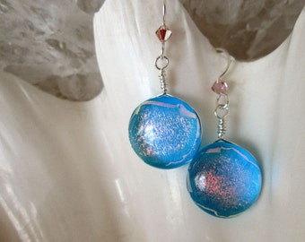 Aquamarine and Shimmering Blush Pink Dangling Earrings - Dichroic Fused Glass