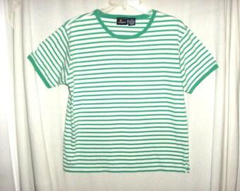 Vintage 80s Green White Stripe Cotton TShirt S Ladies Lizsport