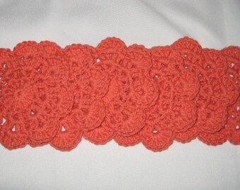 Crochet Cotton Coasters set of 6 in Mango