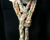 Scarf Necklace Lariat Apricot Olive Green Lavender Skinny Long Soft Hand Knit Hand Made Beads