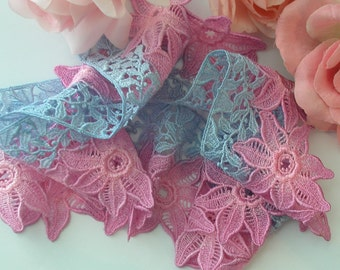 Pink, Blue Hand Dyed Venise Lace Trim Embellishment, Quilts, Sewing