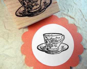 Teacup Rubber Stamp  - Handmade by BlossomStamps