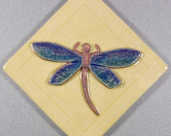 "Dragonfly Tile ~ Tile 4"" x 4 inch, Ceramic Stoneware  ~ Garden Tile ~ Accent Tile ~ Yellow ~ Blue ~ Purple ~ Green"