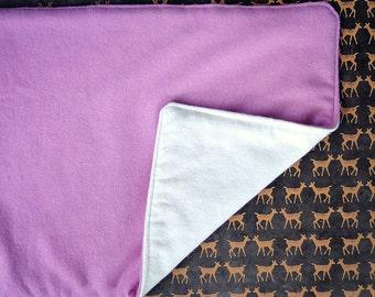 Waterproof baby change pad dusty rose cream wool organic flannel Travel size