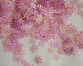 New item -- 7g of  7 mm Star Sequins in Iridescent Pink Lemonade Color (approximately 1100 ct.)