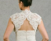 Daphne | Lace bridal bolero with keyhole back opening