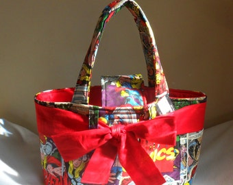 Large Marvel Retro Breakthrough Comic Diaper Bag Tote with Sash Bow