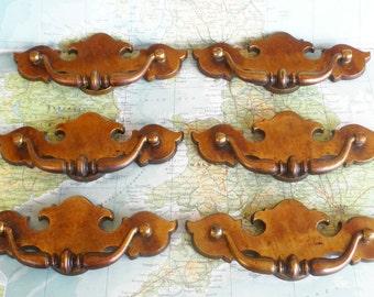 SALE! 6 wide vintage brass metal pull handles