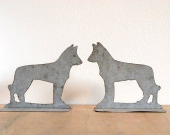 Dog Bookends Handmade from Galvanized Metal 50's Vintage