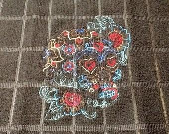 Sugar Scull Embroidered Kitchen Microfiber Towel Black towel