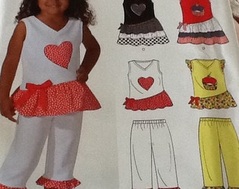 Girls Sleeveless Top and Pants with ruffles and a heart uncut Size 3-8
