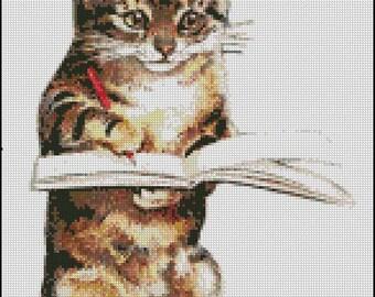 Vintage Cat Reading cross stitch pattern No.787