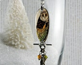 Mini Owl necklace, resin necklace, owls perch, little owl necklace, gifts under 25