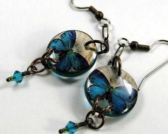 Cerulean  butterfly earrings, resin earrings, brass earrings, gifts for her, gifts under 20