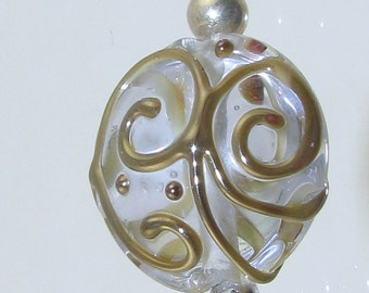 Pale Blue Scroll SRA Lampwork Bead Pendant