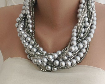 Bridal Silver Pearl Jewelry, Multistrand Pearl brides necklaces silver gray pearl choker Bold ,Chunky, Layered , Necklace
