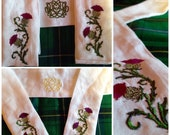 Celtic Bridal Handfasting Cloth - Thistles in Linen