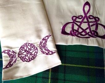Celtic Wedding Handfasting Cloth - Triple Moon Goddess & Pentacle - MADE TO ORDER