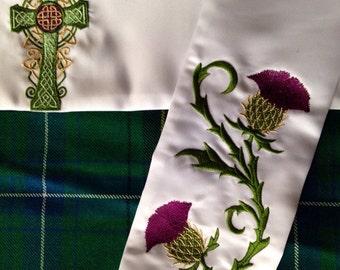 Celtic Wedding Handfasting Cloth - Thistles & Celtic Cross
