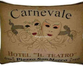 Carnevale de Venezia Masks Oblong Tapestry Cushion Pillow Cover