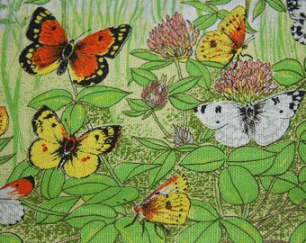 Vintage Linen And Cotton Tea Towel Wall Hanging Butterflies In The Garden Made In The UK Lamont