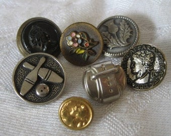 Lot of 7 VINTAGE Metal Glass & Plastic BUTTONS  G7