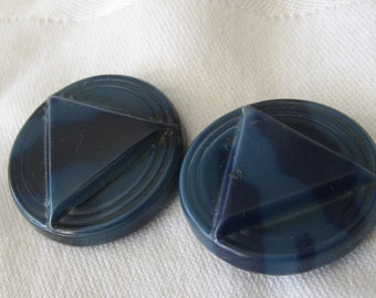 Set Of 2 VINTAGE Blue Celluloid Triangle BUTTONS