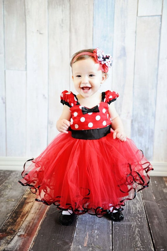 Minnie mouse costume dress tutu party dress in red polka dots with