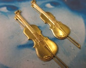 Raw Brass Violin Charms Bent or Straight 598RAW x2