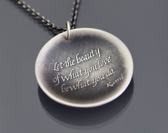 Oxidized Silver Rumi Necklace - Inspirational Quote Pendant