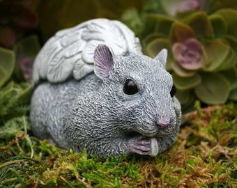 """Hamster Angel Statue - LIFE SIZE Hamster Memorial for Golden / Syrian Hamsters - Solid Concrete 5"""" Long x 2.5"""" Tall x 2.5"""" Wide"""