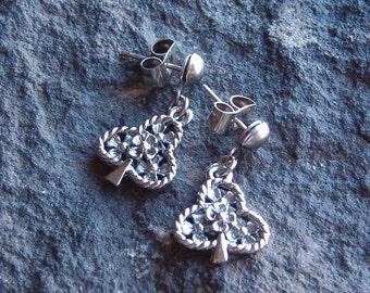 Earrings, Vintage Silver Leaf and Floral Earrings