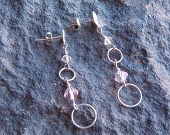 Vintage Silver Tone and Swarovski Crystal Earrings