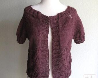 Red Sweater Hand Knit  Baby Alpaca Soft Marsala Burgundy Woman's Wine Red Sweater