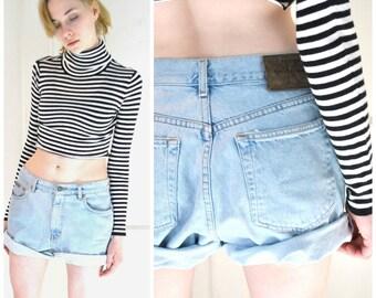 CALVIN KLEIN denim shorts vintage 80s 90s grunge PALE light wash denim rolled up jean shorts size 9 10
