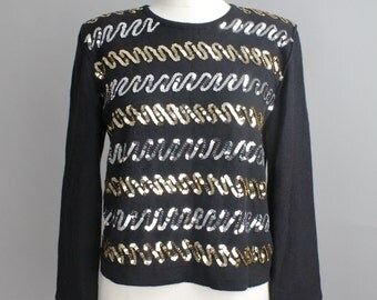 Vintage Sonia Rykiel Sweater | 1980s Sequin Wool Sweater | Black Crewneck Top | 42