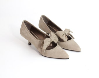 size 4 |  Vintage Fiorucci Leather Shoes | Nubuck and Wool Kitten Heel Pumps | 34 C