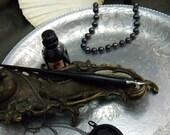 Miss Spider Necklace, Black Gothic Locket, Anatomical Jewelry, Vagina Dentata- mature