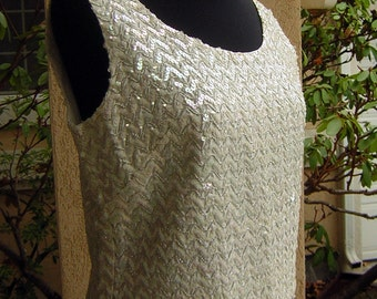 """Vintage 50s 60s Sequin Party Top Pearl Shimmer & Silver M Tinsel Sexy Retro Vixen - Bust 39"""""""
