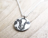 Tiny cow necklace, silver Holstein necklace, dairy cow jewelry