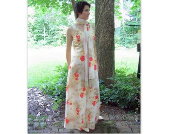 Vintage 1960s / 1970s Prom Party Dress, Mod Maxi Formal with Scarf, Modern Size 6, Small