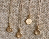 Personalized Charm - Tiny Initial Necklace - 14k Gold Vermeil Pendant - ONE Initial Charm - Holiday Present -  Bridal Party Gifts