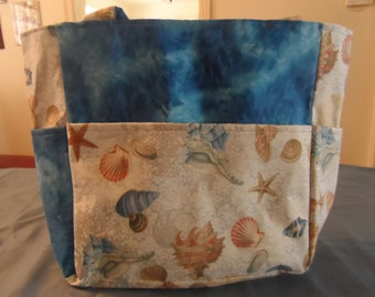 seashells beach ocean blue bag/purse/ diaper bag