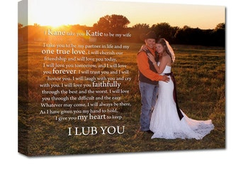 Personalized Wedding Gift Personalized Gift Photo and Words on Canvas use Vows, love letter custom art 16X20