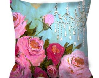Decorative throw pillow aqua pink roses chandelier