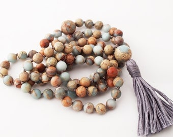 Mala-Peruvian Blue/Green Opal Hand Knotted Japa Mala Prayer Beads Beaded Tassel Necklace