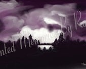 NIGHT LIGHTNING STORM  12x6 Instant Download Digital Painting
