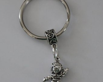 Sterling RAG DOLL Key Ring, Key Chain -