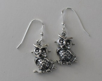 OWLS Sterling Silver Earrings  - Wildlife, Student, Wise, Totem